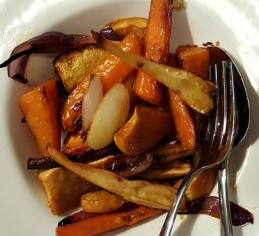 Spice Roasted Root Vegetables with Sirloin Steak