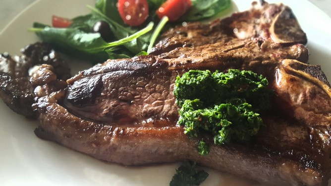 Fresh Chimichurri with T-Bone Steaks