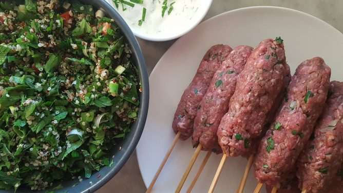Grass Fed Beef Koftas with Tabouli and Minted Yoghurt